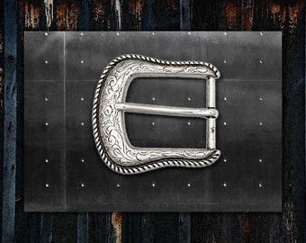 3b631ae152a Boucle de ceinture Western   Floral gravé   conception de bord corde