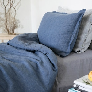 Lithuanian linen Linen pillowcase with buttons Linen Pillowcase Off-WHITE GREY BLUE Stone Washed Cover Cushion Soft