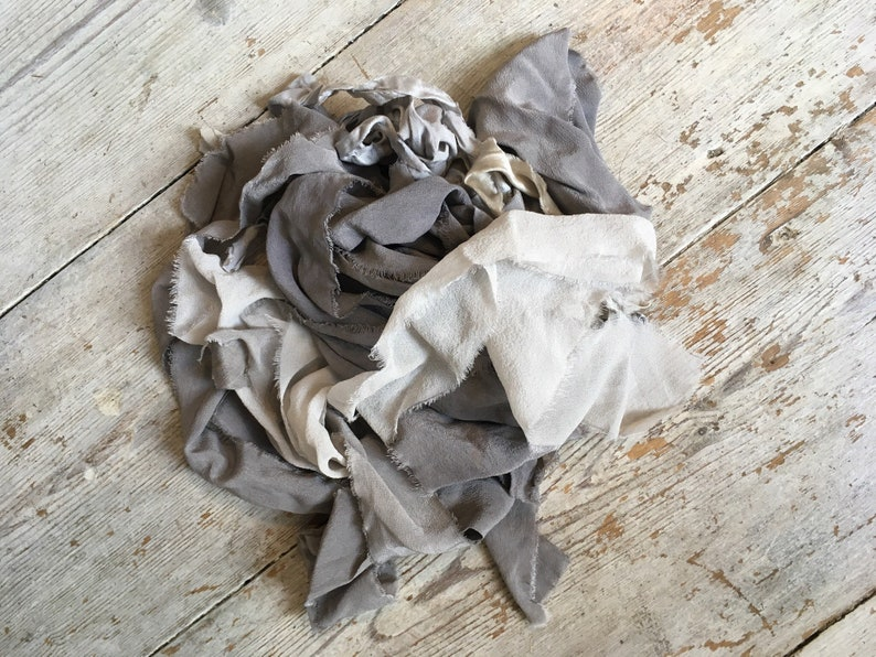 invitations Greys mix wedding favours photography Handmade Silk Ribbon Sample naturally-dyed styling bridal bouquet hand dyed