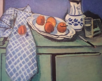 Matisse - Still Life on Green Table  art print - gift for artists art lovers - 8 by 10 inch with or without mat oranges bowl pitcher