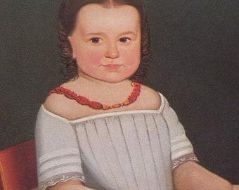 Folk Art Portraits - Girl in the White Dress charming early 19th century children - gift for nursery - framable digital portrait