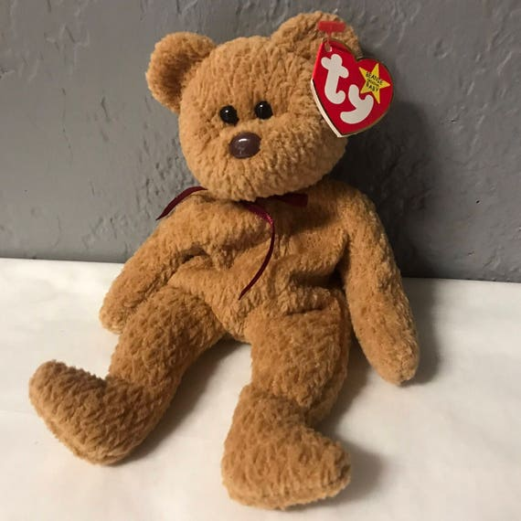 curly the bear beanie baby brown bear black eyes brown nose  c872fac5981