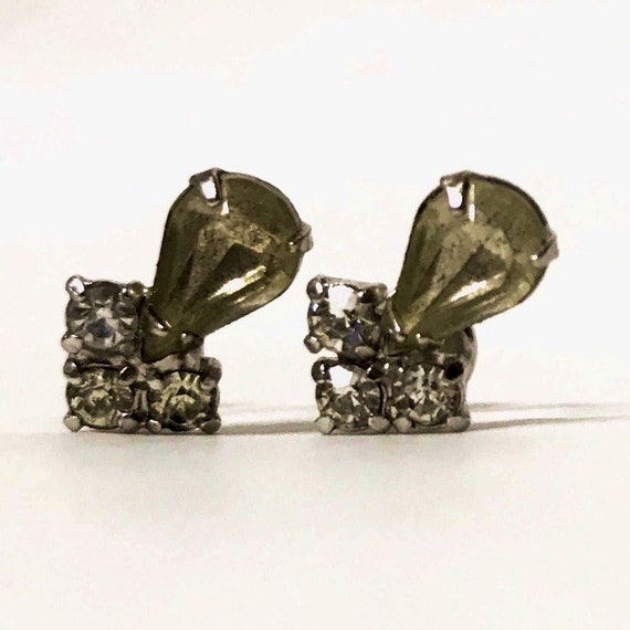 vintage Art Deco paste stone pear drop screw back earrings with clear crystal zircon accent stones