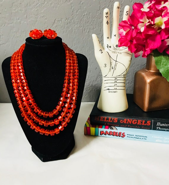 vintage orange three strand square lucite bead nec
