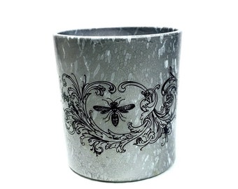 metallic silver insect taxidermy candleholder painted silver with white splatter