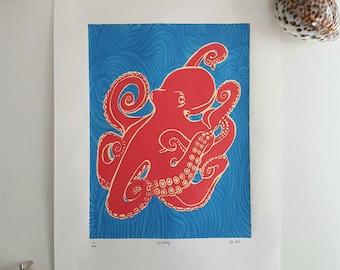 Octopus (lino print)