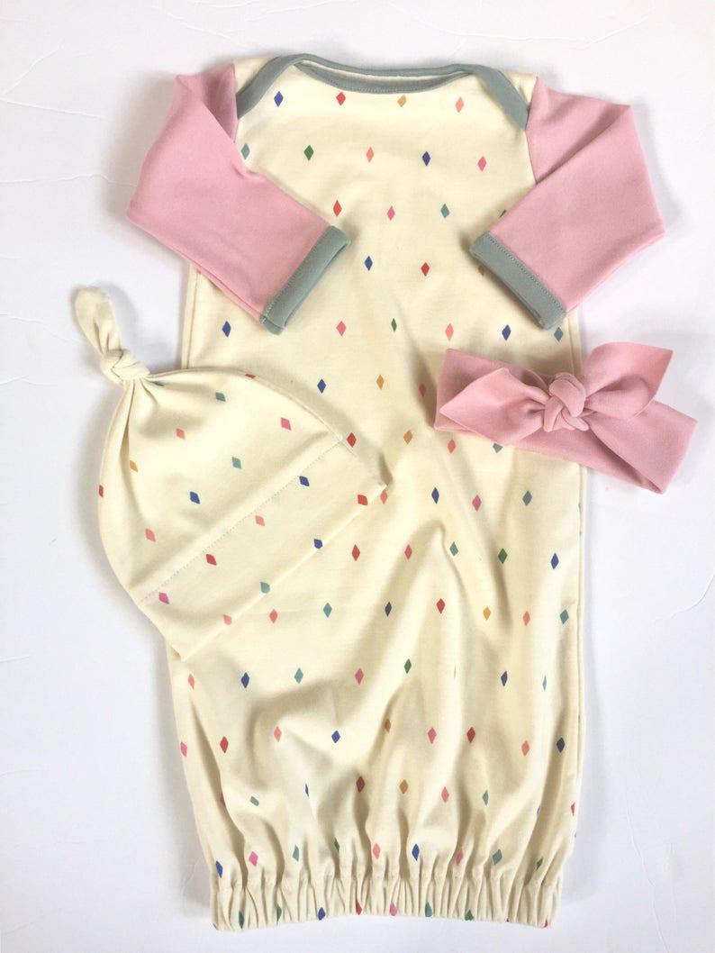 Organic Baby Set DIAMOND DECK layette baby girl sleeper organic newborn gown sleep sack
