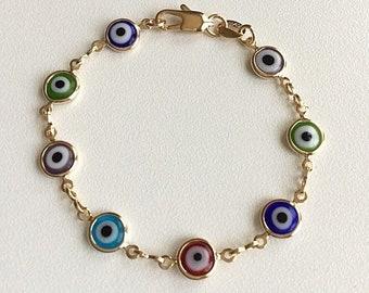18K Yellow Gold Multi Color Eye Bracelet 6 inch