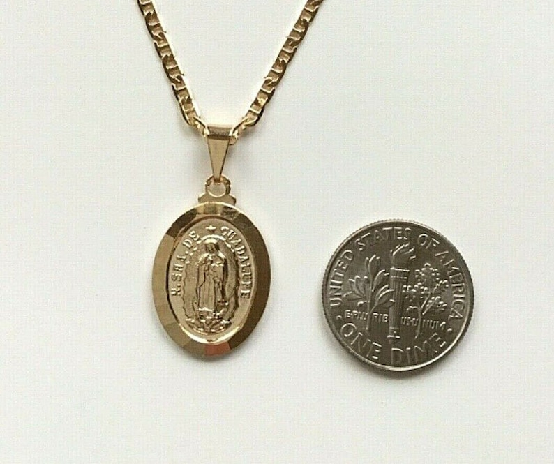 18K gold filled Guadalupe necklace 18 long for good luck 21x14mm   18k gold filled cadena de Guadalupe para buena suerte 18 largo-P2124