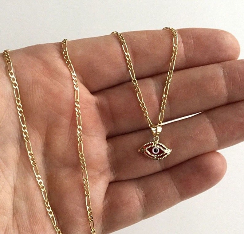 14K Solid Gold Red Evil Eye Necklace 18 Long for good luck   14k Oro Real Cadena de Ojo para buena suerte 18 largo