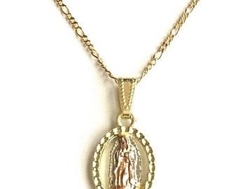 "18K gold filled Guadalupe necklace 18"" long for good luck  / 18k gold filled cadena de Guadalupe para buena suerte 18"" largo"