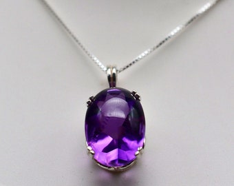 15.1 Carat Natural Buff Top Amethyst Pendant Necklace in Sterling Silver 18 Unique Gemstone measures 18x13mm March Birthstone