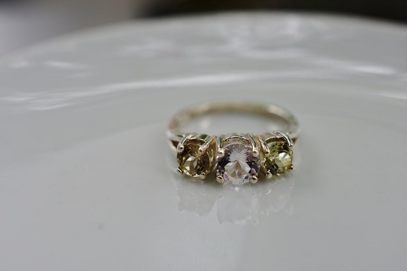 3-Stone Ring with 1.48 cttw Flawless Natural Morganite /& Turkish Diaspore Ring Sterling Silver 6mm and 4mm Stones UNTREATED Gems Certificate