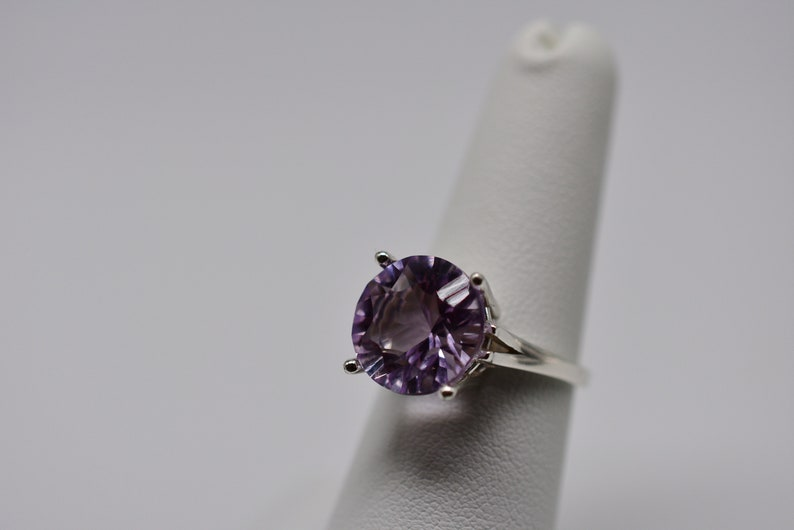12mm Natural Pink Amethyst Solitaire Ring in Sterling Silver 5.66 ct  Concave Cut Size 7 Large Four Prong Raised Split Band Setting