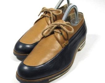 d85f6e1b7 GUCCI Vintage Men's Shoes Late 1970's Navy & Tan US 7/7.5 (EU Size 40.5)