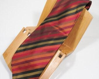 Saks Fifth Avenue Vintage Men's Wide Repp-Stripe Necktie Silk Taffeta Multi-Color Made in Italy
