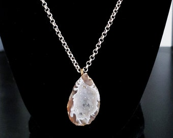 Light Gray Druzy Crystal Geode Necklace Antique Silver Rolo Chain Crystal Crystals Smoky Quartz Sparkly Raw Stone Cut Bohemian Boho Sparkly