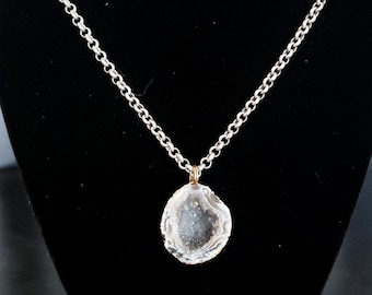 Gray Druzy Crystal Geode Necklace Antique Silver Rolo Chain Crystal Crystals Smoky Quartz Sparkly Raw Stone Cut Bohemian Boho Sparkly