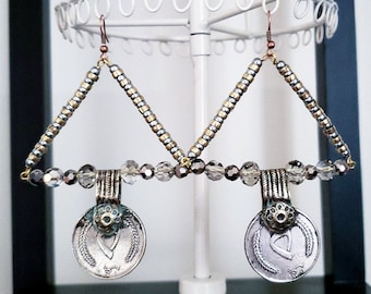 Triangle Coin Earrings Metal Beads Vintage Silver Coins Czech Glass Sparkly Gunmetal Gray Heavy Bold Gothic Bohemian
