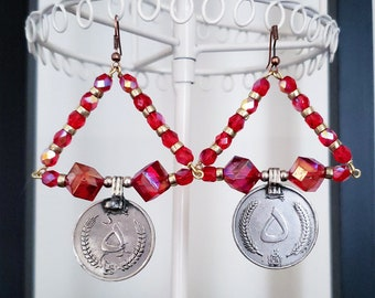 Sparkly Red Coin Earrings Iridescent Czech Glass Beads Vintage Silver Coins Triangle Triangular Faceted Bead Square Diamond Cube