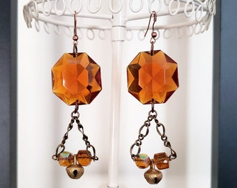 West German Crystal Earrings Vintage Crystals Amber Orange Faceted Round Brass Indian Bells Charms Czech Glass Beads Bronze Chain