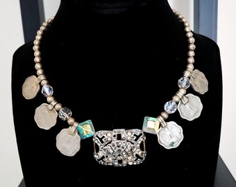 Diamante Coin Necklace Vintage Scalloped Indian Coins 1960s 1930s 1940s Silver Dipped Brass Metal Beads Sparkly Tribal Fusion Belly Dance