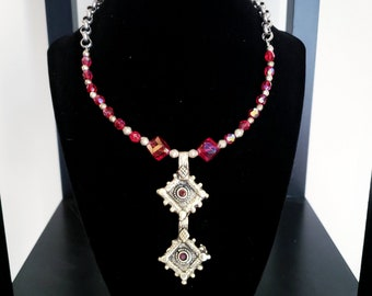Red Silver Kuchi Charm Necklace Vintage Middle Eastern Charms Czech Glass Iridescent Beads Scalloped Square Colored Inlays Metal Rolo Chain