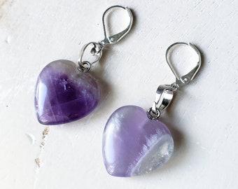 Amethyst Heart Earrings Beautiful Purple Dark Light Stone Crystal Shaped Hearts Steel Silver Boho Bohemian Love Jewelry Romantic Lever Back