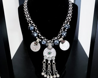 Kuchi Charm Necklace Vintage Coins Czech Glass Faceted Beads Sparkly Heavy Two Layer Antiqued Silver Rolo Chain Inlay Coin Bohemian