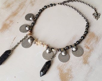 Stone Point Coin Necklace Mineral Crystal Vintage Silver Turkmen Buttons Indian Agate Shards Hematite Beads Gunmetal Fusion Belly Dance Goth