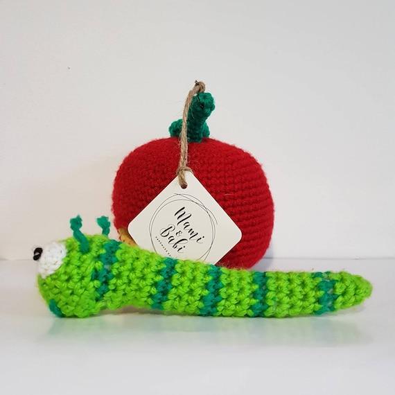 Häkeln Apfel Und Wurm Spielzeug Süße Apfel Wurm Spielzeug Etsy