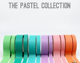 Pastel Thick 15mm + Thin 8mm Washi Tape, Blush Washi, Tangerine Washi, Aqua Blue Washi, Turquoise Washi, Mint Washi // R-ST013