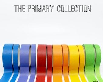 Primary Crayon Colors Thick 15mm + Thin 8mm Washi Tape, Apple Red Washi, Green Washi, Orange Washi, Purple Washi, Blue Washi // R-ST013
