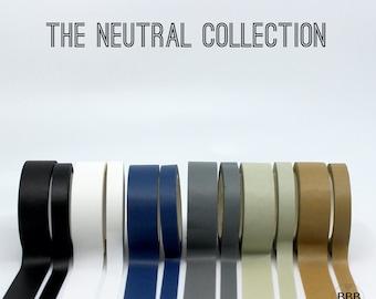 Solid & Foil 15mm +  8mm Washi Tape Set, Black Washi, White Washi, Navy tape, Grey Washi tape, Rose Gold Washi, Solid Washi  // R-ST013
