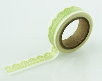 b033ea884f54 Green Lace Pattern Washi Tape    15mm    Paper Tape    BBBsupplies  CR-W -P065