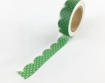 dbb03201f8a1 Green Polka Dot Scalloped Pattern Washi Tape    15mm    Paper Tape     BBBsupplies  CR-W-P302