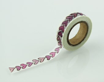 Hand Drawn Vintage Heart Pattern Washi Tape // 15mm // Paper Tape // BBBsupplies //R-ZH1971-15
