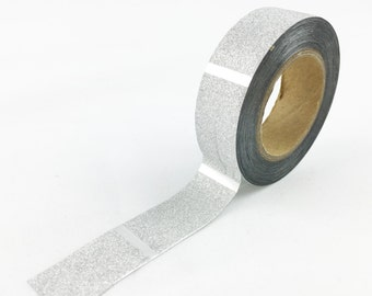 Silver Glitter with Line Pattern Washi Tape // 15mm // Paper Tape // BBBsupplies {CR-W-G028}