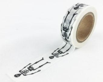 Black Skeleton Pattern Washi Tape // 15mm // Paper Tape // BBBsupplies // R-ZH2148-15