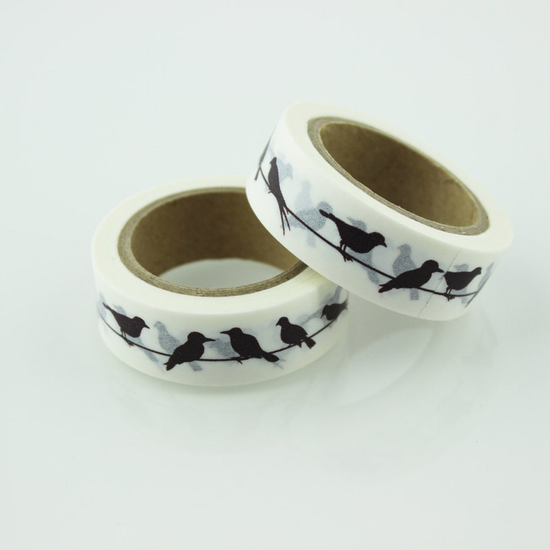 Black and White Bird on a Wire Washi Tape  15mm  Paper Tape  BBBsupplies {CR-W-P037}
