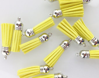 Lemon Yellow Tassel with Silver Top // 1 1/2 in // Tassels // BBBsupplies {CR-T-S020}