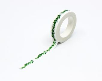 Thin wavy Green Leaf Border Washi Tape, Green branch Leaves Vine Pattern Adhesive Tape, Calendaring Tape // BBB Supplies // R-AL050-05
