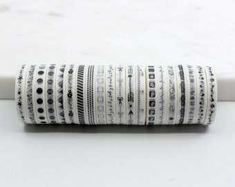 Cute Black and White Pattern Slim Washi Tape Set,  Thin Moon cycles, Ruler, Planets, mountain, flower, star Washi // BBB SUPPLIES // R-ST015