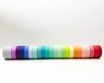 Solid Rainbow Washi Tape, Full Set or single, Card Scrapbooking Tape, Gift Wrapping Tape, Rainbow Washi Set // Set of 24 // R-ST001