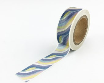 Van Gogh Style Blue and Yellow Wave Pattern Washi Tape // 15mm // Paper Tape // BBBsupplies // R-ZH1694-15