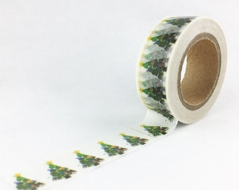 Traditional Holiday Christmas Tree with Star on Top Washi Tape // 15mm // Paper Tape // BBBsupplies {CR-W-P581}