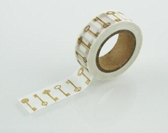 Gold Key Washi Tape // 15mm // Paper Tape // BBBsupplies // R-ZH1573-15