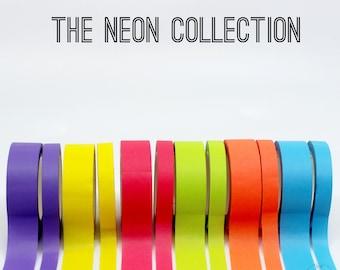 Neon Thick 15mm + Thin 8mm Washi Tape, Neon Pink Washi, Neon Yellow Washi, Neon Blue Washi, Neon Orange Washi, Neon Green Washi // R-ST013
