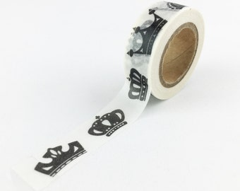 Black and White Crown Washi Tape // 15mm // Paper Tape // BBBsupplies // R-ZH2132-15