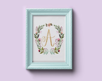 Monogram Initial, Hand lettered, Nursery, Wall Art, Floral, Wall Decoration, Printable, Downloadable